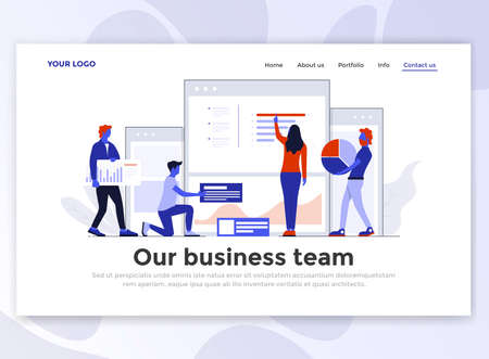 Landing page template of Our business team. Modern flat design concept of web page design for website and mobile website. Easy to edit and customize. Vector illustration 版權商用圖片 - 102589568
