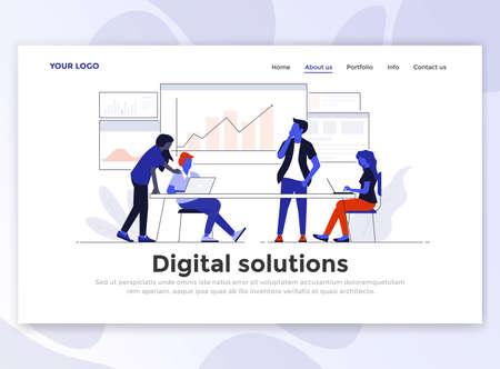 Landingspagina sjabloon van digitale oplossing. Modern plat ontwerpconcept webpaginaontwerp voor website en mobiele website. Gemakkelijk te bewerken en aan te passen. Vector illustratie