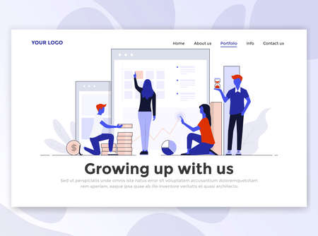 Landing page template of Growing up with us. Modern flat design concept of web page design for website and mobile website. Easy to edit and customize. Vector illustration Çizim