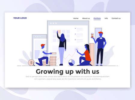Landingpage-Vorlage von Mit uns aufwachsen. Modernes flaches Designkonzept des Webseitenentwurfs für Website und mobile Website. Einfach zu bearbeiten und anzupassen. Vektorillustration