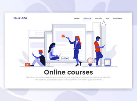 Landing page template of Online Courses. Modern flat design concept of web page design for website and mobile website. Easy to edit and customize. Vector illustration