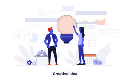 Modern flat color design, Business concept for Creative Idea, easy to use and highly customizable. Modern vector illustration concept, isolated on white background. Standard-Bild - 102685764