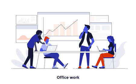Modern flat color design, Business concept for Office Work, easy to use and highly customizable. Modern vector illustration concept, isolated on white background. Иллюстрация