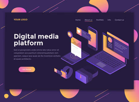 Modern flat design isometric concept of Digital Media Platform for website and mobile website. Landing page template, dark theme. Easy to edit and customize. Vector illustration 向量圖像