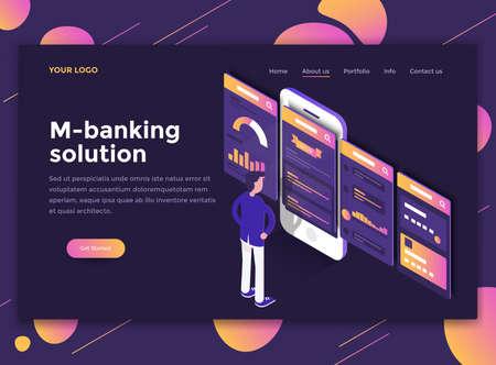 Concetto isometrico moderno design piatto della soluzione M-banking per sito Web e sito Web mobile. Modello di pagina di destinazione, tema scuro. Facile da modificare e personalizzare. Illustrazione vettoriale