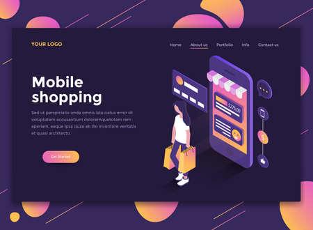 Concepto isométrico de diseño plano moderno de Mobile Shopping para sitio web y sitio web móvil. Plantilla de página de destino, tema oscuro. Fácil de editar y personalizar. Ilustración vectorial
