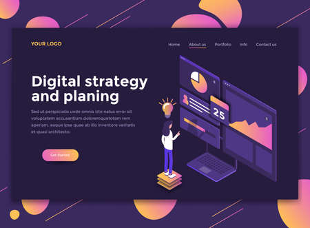 Modern flat design isometric concept of Digital Strategy and Planing for website and mobile website. Landing page template, dark theme. Easy to edit and customize. Vector illustration