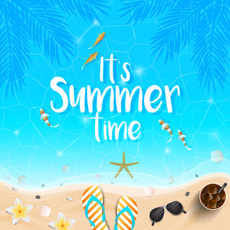 Summer time background. Top view on Tropic fishes, seashells, seaside, fresh cocktail, flip flops, flower and sea sand on sea water texture. Vector illustration.