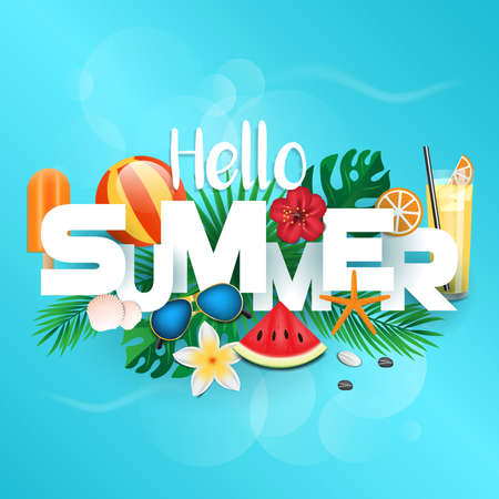 Summer 3d typographic design. Tropical plants, flower, beach ball, sunglasses, cocktail, shells ice cream and watermelone. Vector illustration