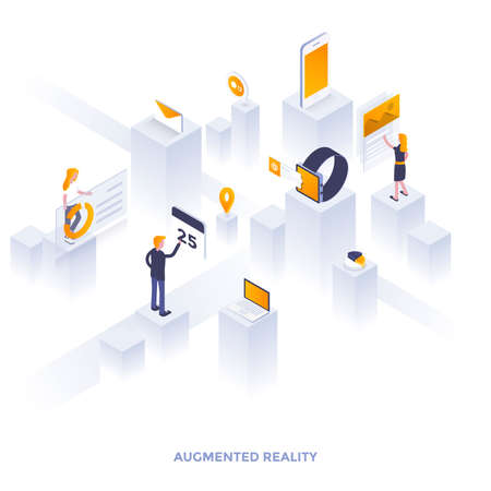 Modern flat design isometric illustration of Augmented Reality. Can be used for website and mobile website or Landing page. Easy to edit and customize. Vector illustration