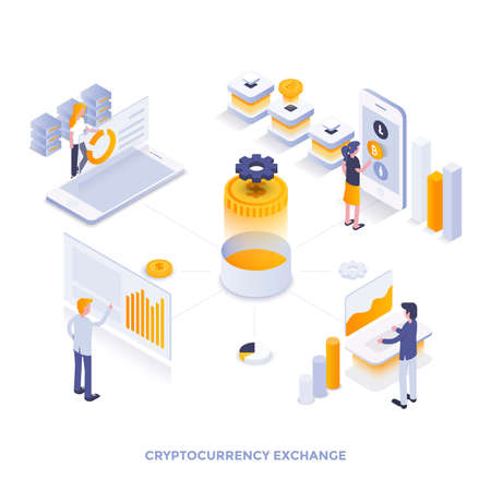 Modern flat design isometric illustration of Cryptocurrency exchange. Can be used for website and mobile website or Landing page. Easy to edit and customize. Vector illustration