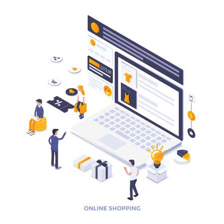 Ilustración isométrica de moderno diseño plano de compras en línea. Se puede utilizar para sitios web y sitios web móviles o páginas de destino. Fácil de editar y personalizar. Ilustración vectorial Ilustración de vector