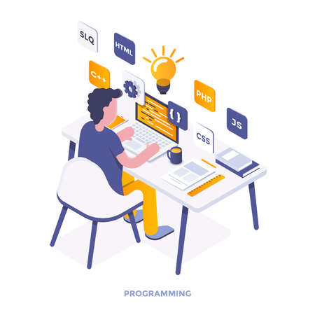 Illustration isométrique de design plat moderne de la programmation. Peut être utilisé pour le site Web et le site Web mobile ou la page de destination. Facile à modifier et à personnaliser. Illustration vectorielle