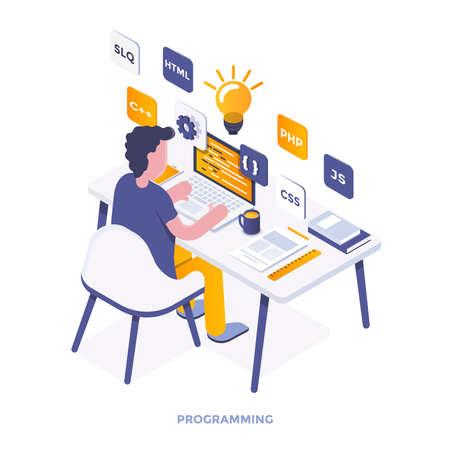 Nowoczesna płaska konstrukcja izometryczna ilustracja programowania. Może być używany do witryny internetowej i mobilnej witryny internetowej lub strony docelowej. Łatwe do edycji i dostosowywania. Ilustracji wektorowych
