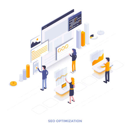 Modern flat design isometric illustration of Seo optimization. Can be used for website and mobile website or Landing page. Easy to edit and customize. Vector illustration Vectores