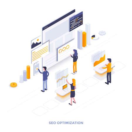 Nowoczesna płaska konstrukcja izometryczna ilustracja optymalizacji SEO. Może być używany do witryny internetowej i mobilnej witryny internetowej lub strony docelowej. Łatwe do edycji i dostosowywania. Ilustracji wektorowych