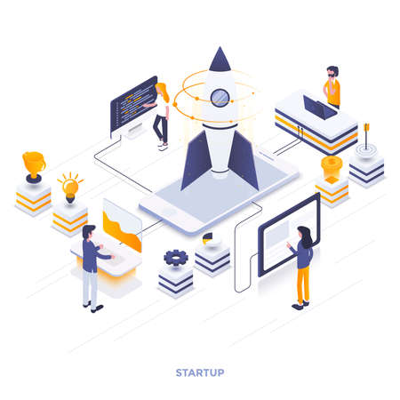 Modern flat design isometric illustration of Startup. Can be used for website and mobile website or Landing page. Easy to edit and customize. Vector illustration Illustration