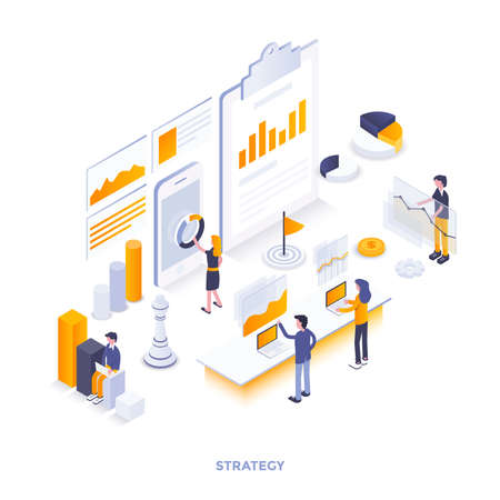 Modern flat design isometric illustration of Strategy. Can be used for website and mobile website or Landing page. Easy to edit and customize. Vector illustration 免版税图像 - 104370481