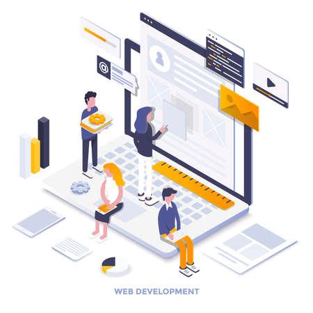 Ilustración isométrica de diseño plano moderno de desarrollo web. Se puede utilizar para sitios web y sitios web móviles o páginas de destino. Fácil de editar y personalizar. Ilustración vectorial