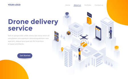 Modern flat design isometric concept of Drone delivery service for website and mobile website. Landing page template. Easy to edit and customize. Vector illustration Çizim