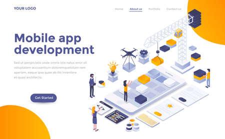 Modern flat design isometric concept of Mobile app development for website and mobile website. Landing page template. Easy to edit and customize. Vector illustration Ilustração Vetorial