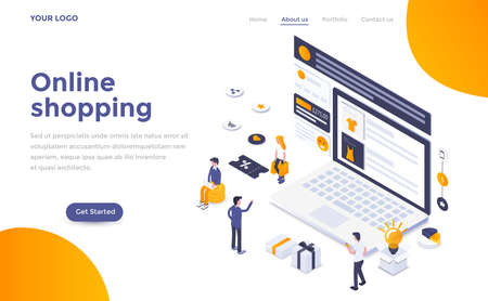 Modern flat design isometric concept of Online Shopping for website and mobile website. Landing page template. Easy to edit and customize. Vector illustration