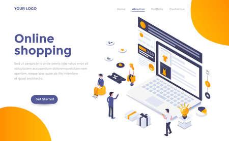 Concepto isométrico de diseño plano moderno de compras en línea para sitio web y sitio web móvil. Plantilla de página de destino. Fácil de editar y personalizar. Ilustración vectorial Ilustración de vector
