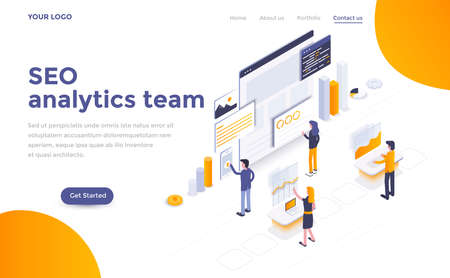 Modern flat design isometric concept of Seo analytics team for website and mobile website. Landing page template. Easy to edit and customize. Vector illustration Vector Illustration