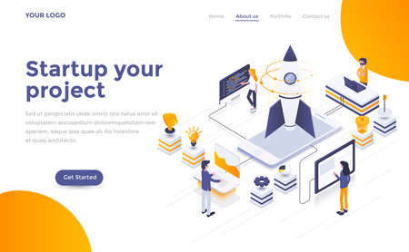 Modern flat design isometric concept of Startup your project for website and mobile website. Landing page template. Easy to edit and customize. Vector illustration 스톡 콘텐츠 - 104293297