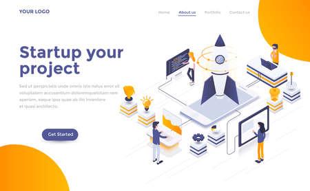 Modernes flaches Design isometrisches Konzept des Starts Ihres Projekts für Website und mobile Website. Landingpage-Vorlage. Einfach zu bearbeiten und anzupassen. Vektorillustration