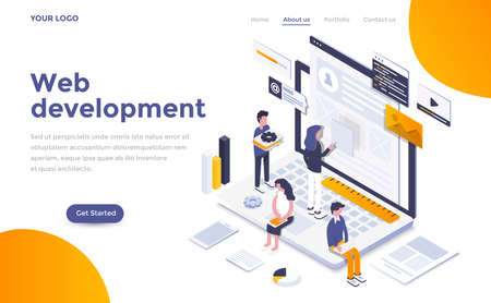 Modern flat design isometric concept of Web Development for website and mobile website. Landing page template. Easy to edit and customize. Vector illustration Vector Illustration
