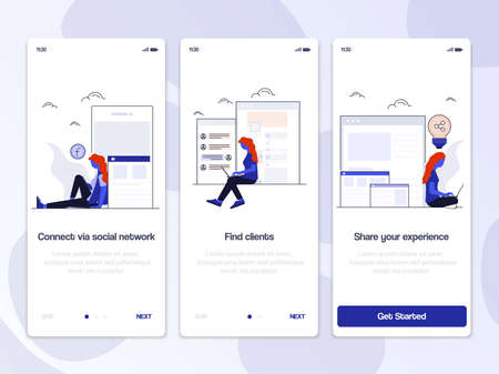 Onboarding Screens User Interface Kit. Modern user interface UX, UI screen template for mobile smart phone or responsive web site. Vector Illustration Illustration