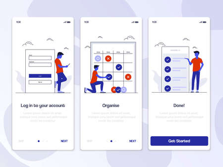 Onboarding Screens User Interface Kit. Modern user interface UX, UI screen template for mobile smart phone or responsive web site. Vector Illustration Stock Illustratie