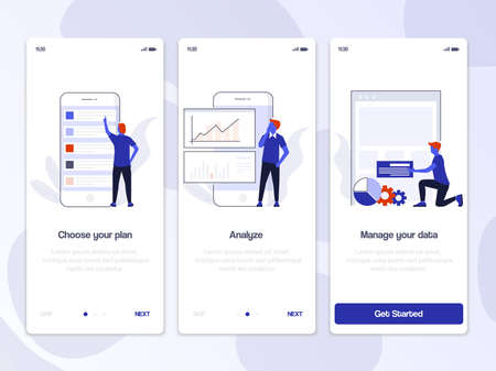 Onboarding Screens User Interface Kit. Modern user interface UX, UI screen template for mobile smart phone or responsive web site. Business theme. Vector Illustration Illustration
