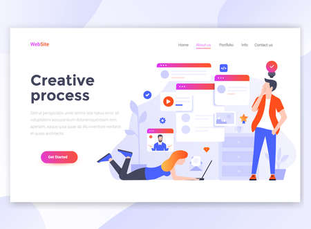 Landing page template of Creative process. Modern flat design concept of web page design for website and mobile website. Easy to edit and customize. Vector illustration Stock Vector - 114858786