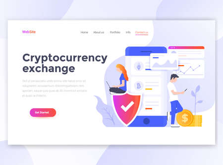 Landing page template of Cryptocurrency exchange. Modern flat design concept of web page design for website and mobile website. Easy to edit and customize. Vector illustration 스톡 콘텐츠 - 105008395