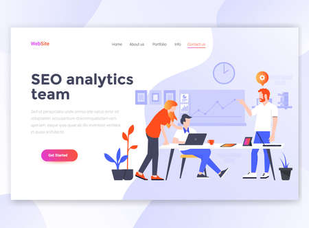 Landing page template of Seo Analytics team. Modern flat design concept of web page design for website and mobile website. Easy to edit and customize. Vector illustration
