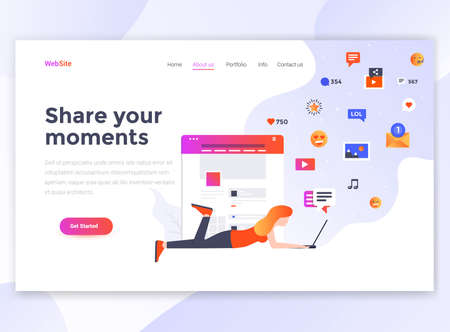 Landing page template of Share your moments. Modern flat design concept of web page design for website and mobile website. Easy to edit and customize. Vector illustration Stock fotó - 105008398