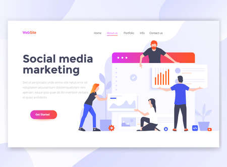 Landing page template of Social media marketing. Modern flat design concept of web page design for website and mobile website. Easy to edit and customize. Vector illustration Çizim
