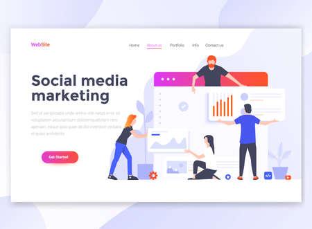Landingspagina sjabloon van sociale media marketing. Modern plat ontwerpconcept webpaginaontwerp voor website en mobiele website. Gemakkelijk te bewerken en aan te passen. Vector illustratie