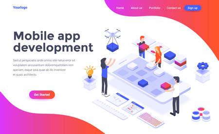 Concepto isométrico de diseño plano moderno de desarrollo de aplicaciones móviles para sitios web y sitios web móviles. Plantilla de página de destino. Fácil de editar y personalizar. Ilustración vectorial