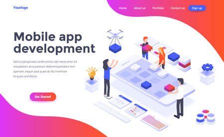 Modern flat design isometric concept of Mobile app development for website and mobile website. Landing page template. Easy to edit and customize. Vector illustration Çizim