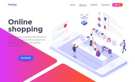 Concepto isométrico de diseño plano moderno de compras en línea para sitio web y sitio web móvil. Plantilla de página de destino. Fácil de editar y personalizar. Ilustración vectorial