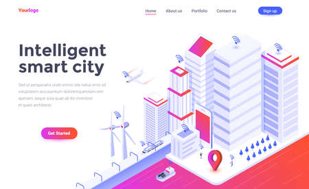 Modern flat design isometric concept of Intelligent smart city for website and mobile website. Landing page template. Easy to edit and customize. Vector illustration Standard-Bild - 111582109