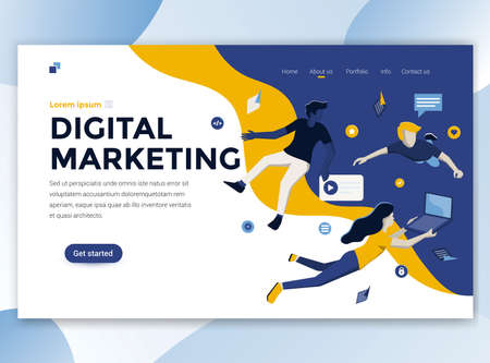 Landing page template of Digital Marketing. Modern flat design concept of web page design for website and mobile website. Easy to edit and customize. Vector illustration