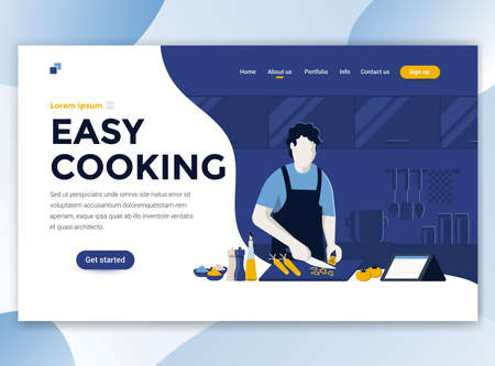 Plantilla de página de destino de Easy Cooking. Concepto de diseño plano moderno de diseño de página web para sitio web y sitio web móvil. Fácil de editar y personalizar. Ilustración vectorial
