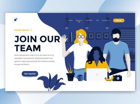 Landing page template of Join our team. Modern flat design concept of web page design for website and mobile website. Easy to edit and customize. Vector illustration