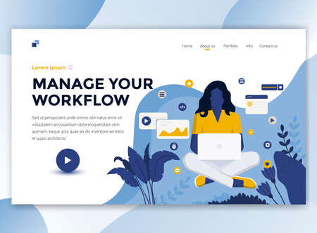 Landing page template of Manage your workflow. Modern flat design concept of web page design for website and mobile website. Easy to edit and customize. Vector illustration Vektorové ilustrace