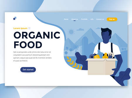 Landing page template of Organic food. Modern flat design concept of web page design for website and mobile website. Easy to edit and customize. Vector illustration Banque d'images - 110266999