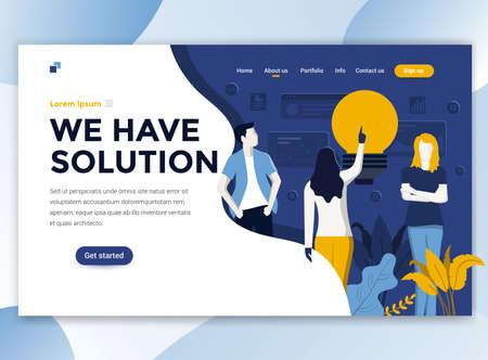 Zielseitenvorlage von Wir haben eine Lösung. Modernes flaches Designkonzept des Webseitendesigns für Website und mobile Website. Einfach zu bearbeiten und anzupassen. Vektor-Illustration Vektorgrafik
